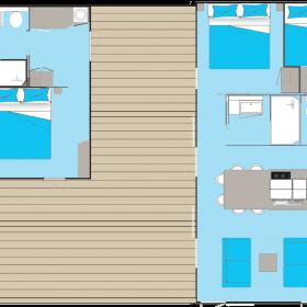 camping-mobil-home-bretagne-Premium-double-lodge-6-personnes-plan